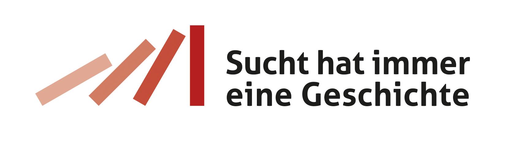 """Logo Landeskampagne """"Sucht hat immer eine Geschichte"""""""